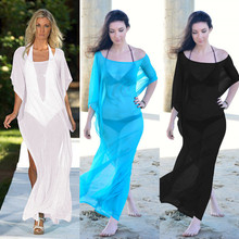 2017 Long Beach Cover Up Kaftan long bikini cardigan swimwear sarong Beach pareo beachwear saida de praia feminino dress tunic(China)