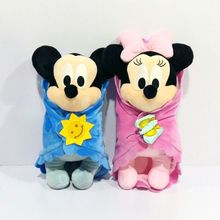 2017 new 28CM Original Baby MICKEY MOUSE MINNIE MOUSE with blanket plush stuffed Doll Plush Toys