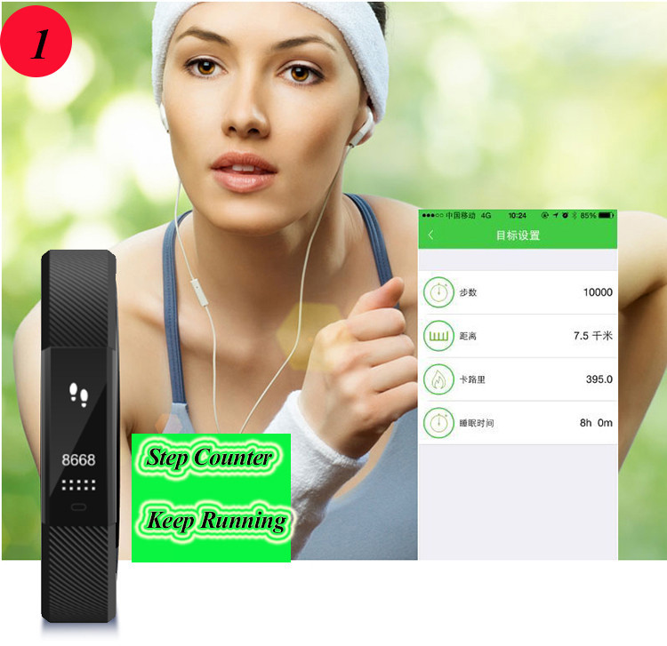 ID115 Smart Bracelet Fitness Tracker Step Counter Activity Monitor Band Alarm Clock Vibration Wristband for iphone Android phone 6