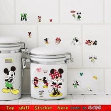 Mickey Mouse Wall Stickers For Cupborad Lunchbox Sticker Kids Room Decor Minnie Home Decals Diy Computer Cup Refrigerator Poster