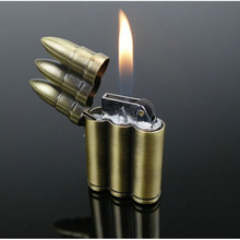 Creative Lot Bullet Butane Flame Lighter Butane Windproof Gas Lighters Novelty Gadget Military Addictive Gift Smoke NO GAS