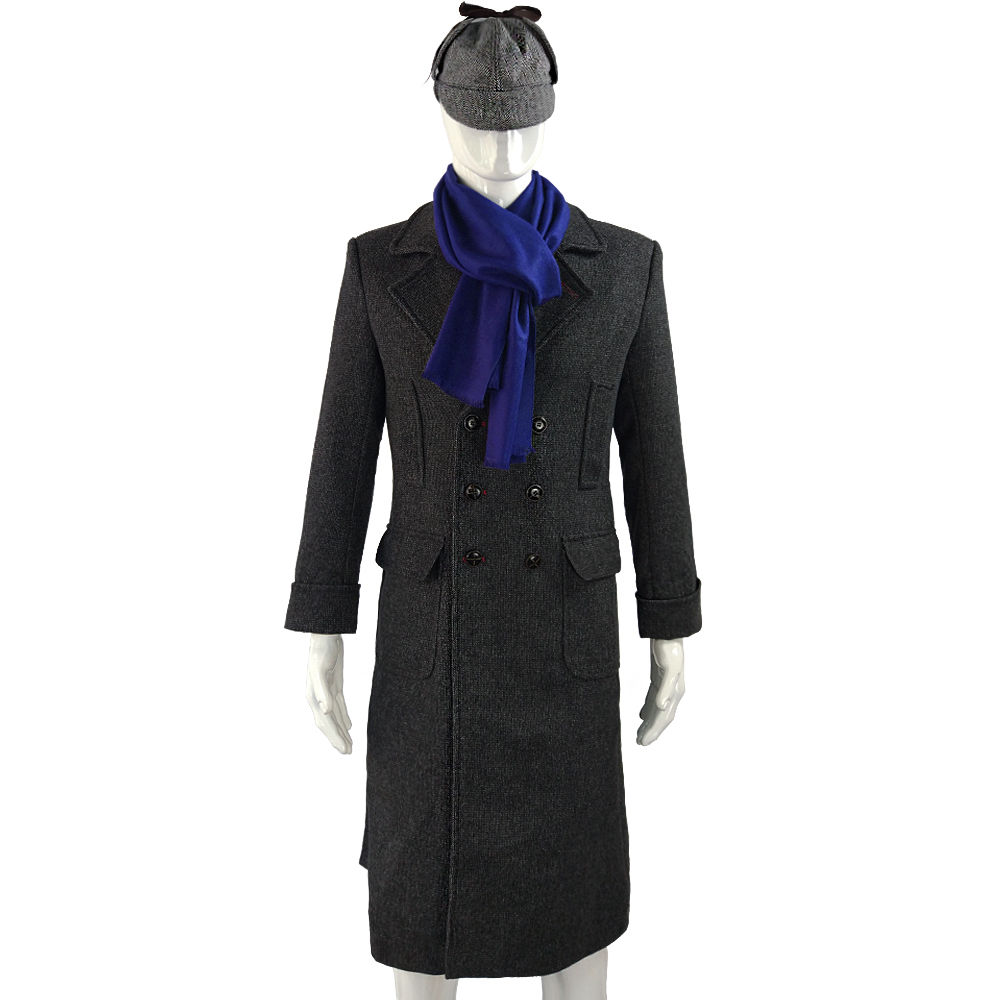 Cosplay Sherlock Holmes Cape Coat Costume Wool Long Jacket Outfit With Scarf New2