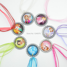 NEW 2015 Wholesale 45cm Princess Elsa/Sofia the First/CINDERELLA/Ariel Ribbon Bottle Cap Necklace,Characters Chain Necklace 10pc