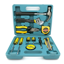 Tool Set General Household Hand Tool Kit with Plastic Toolbox Storage Case Hammer Plier Screwdriver Knife(China)