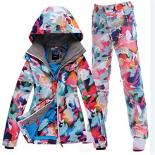 High Quality girl Snow Clothing Camouflage jacket+pants 10K waterproof windproof women ski suit Set ladies snowboarding costumes