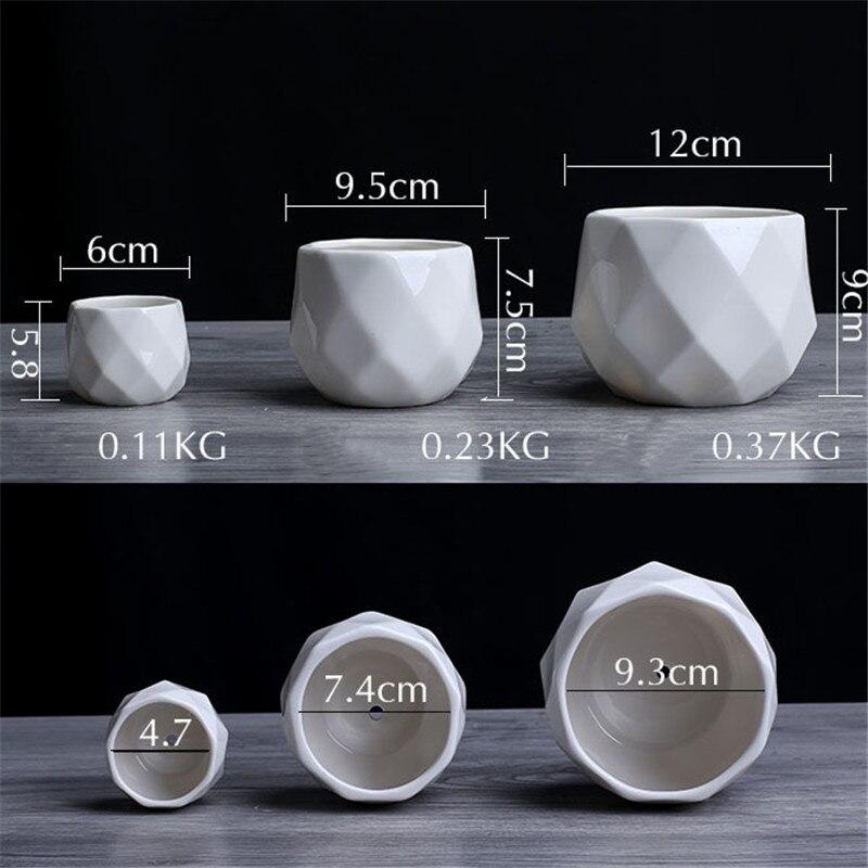 Creative Ceramic Diamond Geometric Flowerpot Simple Succulent Plant Container Green Planters Small Bonsai Pots Home Decoration5