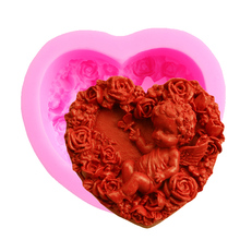 S001 handmade 3D soap molds baby silicone mould heart shaped rose angel candle mould chocolate mold pastry tools 9.2*8.5*4.2cm(China)