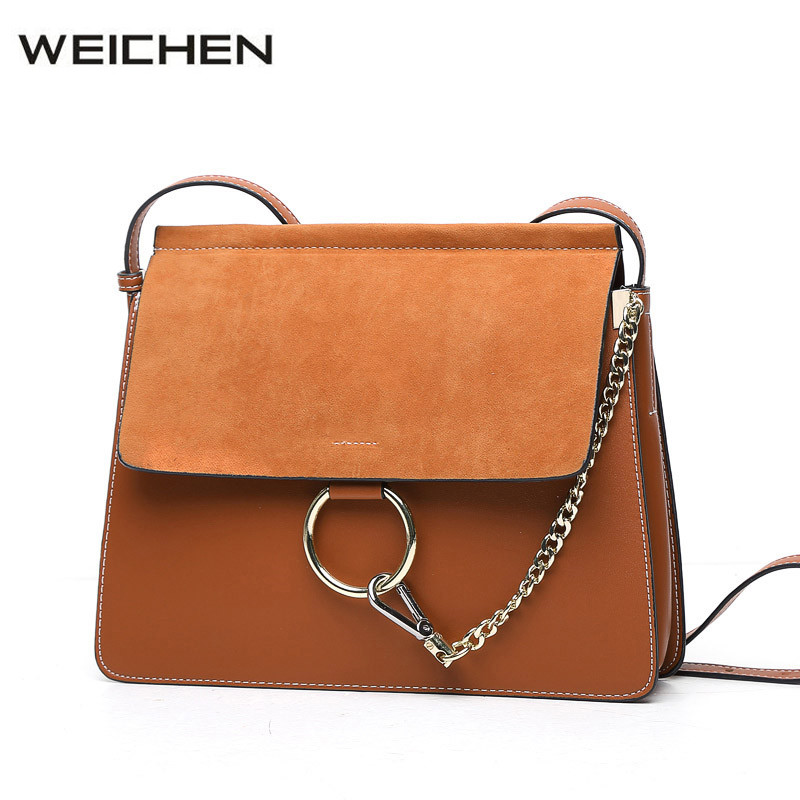Leather Shoulder Bag 2017 Autumn Patchwork Metal Ring Cross Body Bags For Women Messenger Bags Lady Scrub Korean Bag Sac A Main<br>