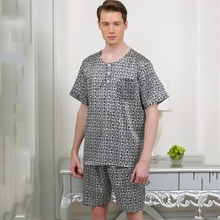 12098 YIER Brand Summer Men's Pajamas Heavy Silk Sleepwear Male Short-Sleeve Shorts Sets 100% Silk Pajamas Men Pyjamas(China)