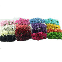 144pcs/lot Handmade Mulberry Paper Flower Bouquet/wire stem/ Scrapbooking artificial Mini rose flowers wedding party Decor(China)
