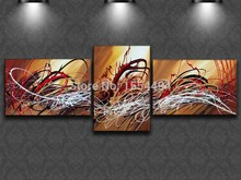 Framed ! stretched ! Hand Painted Canvas Painting group abstract line pattern Art wall picture 3 panel sitting room home decor