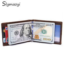Slymaoyi 2017 Fashion New Genuine Leather Men Money Clips Black Brown 2 folded Open Clamp For Money With Card Holder Money Bag(China)