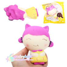 Jumbo Colorful Girl Doll 12CM Cute Kawaii Cartoon Phone Straps Pendant Sweet Cream Scented Squishy Slow Rising Bread Kids Toys