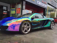 Best Quality Blue Rainbow Chrome Vinyl Film Foil Rainbow Vinyl Wrap Sheet Bubble Free For Car Wrapping
