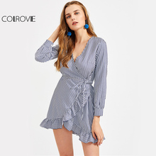 Buy COLROVIE Stripe Tied Line Wrap Dress 2017 Navy Elegant Women Frill Trim Hi-Lo Mini Fall Dress Ruffle OL Casual Sexy Dress for $14.89 in AliExpress store