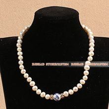 Best Mother Gift Graceful Natural White Pearl Blue And White Porcelain Bead Party Necklace With Heart Clasp And Adjustable Chain