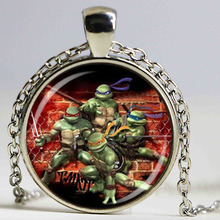 Wholesale Glass Dome pendant Teenage Mutant Ninja Turtles Necklace Cartoon characters Necklace Hero Necklace