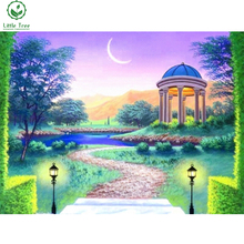 colored resin drill diamond painting garden doorway scenery mosaic pattern wall sticker 5d beaded embroidery crystal needlework(China)
