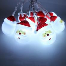 Christmas Decoration Pendant Drop Santa Claus Head Battery Light String Decorative Lights LED Ornaments Strips(China)
