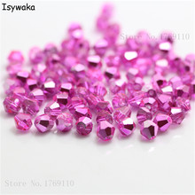 Buy Isywaka New Pink Color 100pcs 4mm Bicone Austria Crystal Beads charm Glass Beads Loose Spacer Bead DIY Jewelry Making for $0.51 in AliExpress store
