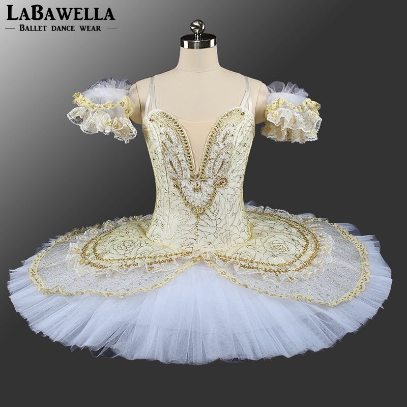 girl Sleeping Beauty Ballerina Classical Stage Costume Adult Gold White Queen Performance Pancke Professional Ballet TutuBT9143A