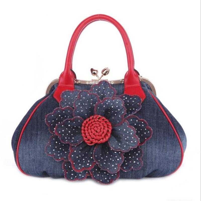 Fashion Casual Flower Handbags High Quality Denim Messenger Bag For Women Elegant Luxury Clutches Women Mochila Feminina H100<br>