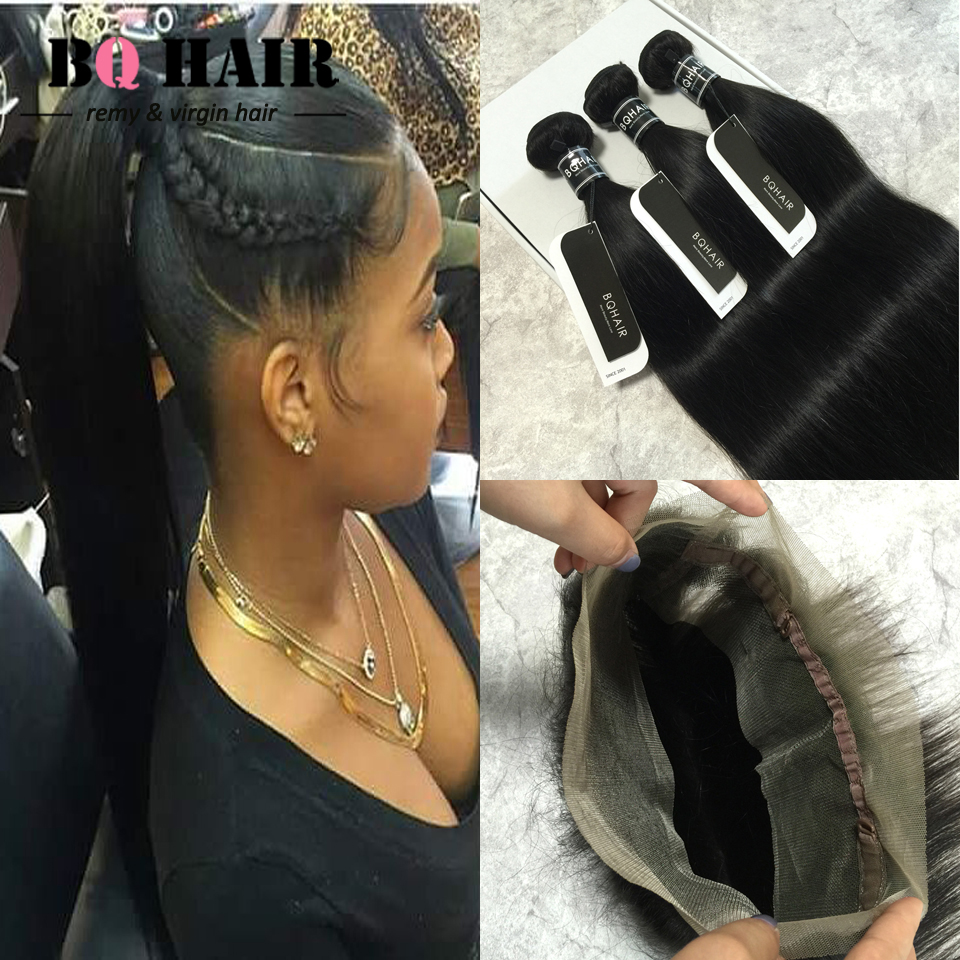 BQ Hair 8A Mink Brazilian Virgin Hair 360 Lace Frontal with Bundle Deals 3 pcs/lot Straight Extension Weaving Closure Aliexpress<br><br>Aliexpress