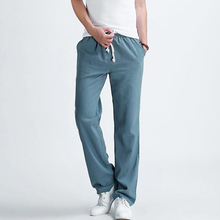 Men's casual pants 2017 New Men's solid color linen casual trousers Stylish and comfortable large size men straight trousers(China)