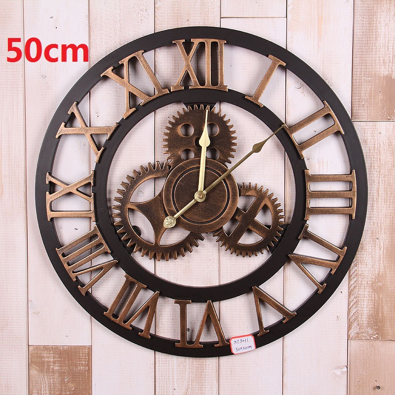 Vintage Large Wall Clock 3d Gear Wooden Wall Clocks Watch Retro Relogio de Parede Reloj de Pared Horloge Murale Duvar Saati Klok(China (Mainland))