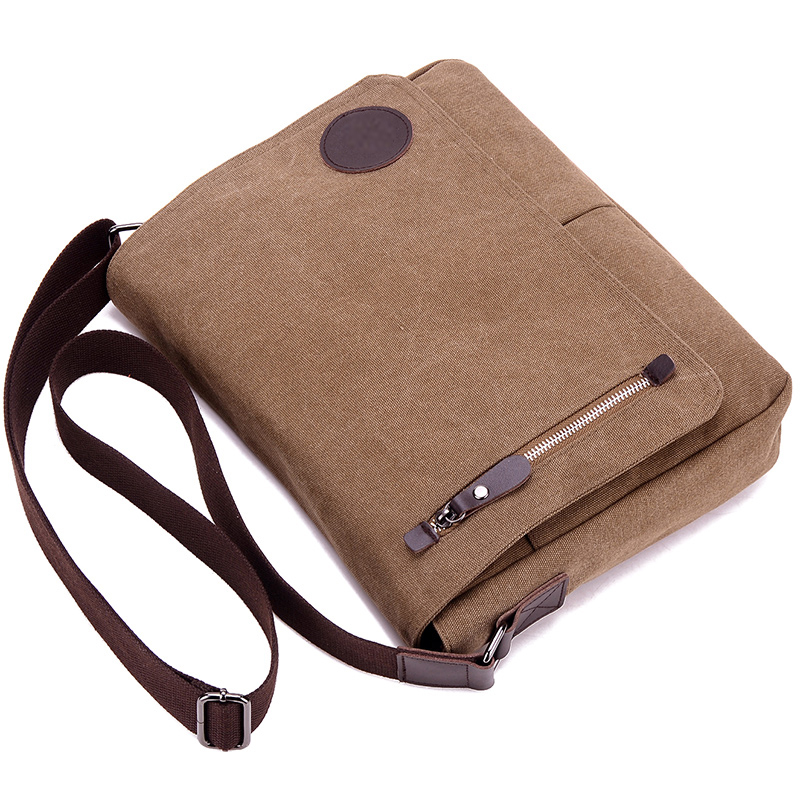 casual canvas laptop bag in brown