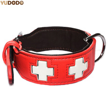 Adjustable PU Leather Luminous Collar For Dogs Durable Cross Style Night Glowing Dog Collar Light Pet Accessories S/ M/ L