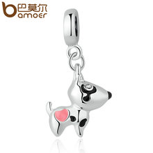 BAMOER Silver Color Pink Heart Dog Animal Pendants Charms Fit Bracelets Necklaces Women Cute Beads & Jewelry Making PA5328