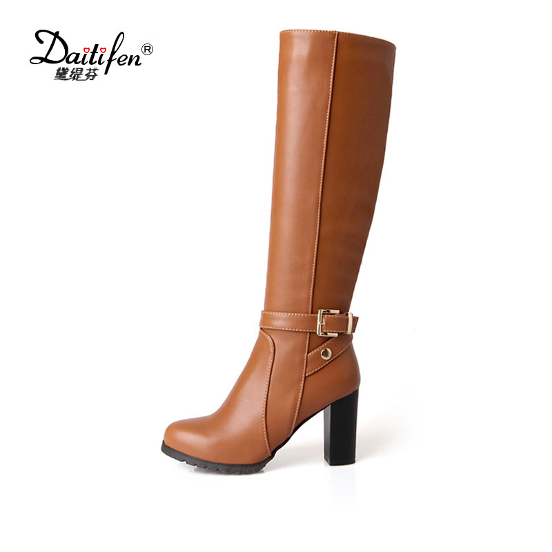 Daitifen 2017 Winter Women Boots Hot Sale Knee High Pumps Slim Sexy Snow Boots Womens Fashion Square Heel Shoes Plus Size 34-43<br>