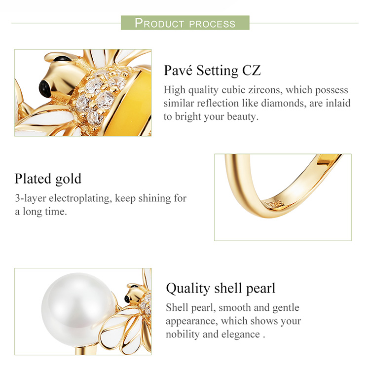 BAMOER Genuine 925 Sterling Silver Freshwater Pearl And Bee Gold Color Female Finger Rings for Women Wedding Jewelry BSR017
