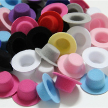 100pcs/lot Hen Party Felt Mini Top Hat Hair Fascinator Base. DIY Mini hat 4cm BJD Doll hat(China)