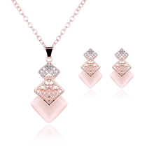 YYW Free shipping Sold By Set Zinc Alloy Jewelry Sets rose Gold-color oval chain  with rhinestone lead  cadmium free