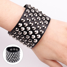 Rock Style Six Row Cuspidal Spikes Rivet Stud Wide Cuff PU Leather Punk Gothic  Bangle Bracelet for Women Men Unisex @M2