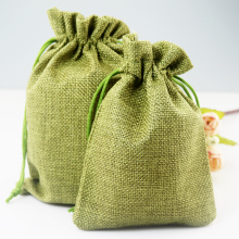 100pcs/lot olive 13x18cm handmade jute drawstring pouch gift jute bag for storage wedding jewel accessories recycle bag(China)