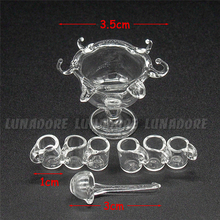 Odoria 1:12 Miniature Glass Cocktail Punch Bowl with 1 Spoon And 6 Cups Glass Tableware Dollhouse Kitchen Accessories