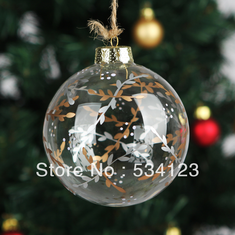 dia10cm romantic christmas decoration xmas glass ball pendant with osier drawing christmas - How To Decorate A Glass Christmas Ornament