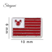 6*10mm DIY Zinc Alloy USA Flag Charms With Mouse Charms For Living Glass Memory Floating Locket