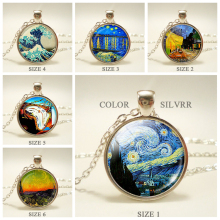 Vintage Glass Dome Starry Night Van Gogh Pendant Chain Necklace Art Picture Cabochon Jewelry Handmade Birthday Gift