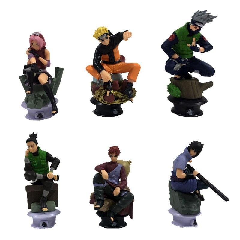 6pcs/set Naruto Uzumaki Kakashi Sasuke Gaara Sakura 6-8cm Chess set Anime PVC Figures Japanese Animation Toys Collection Items<br><br>Aliexpress