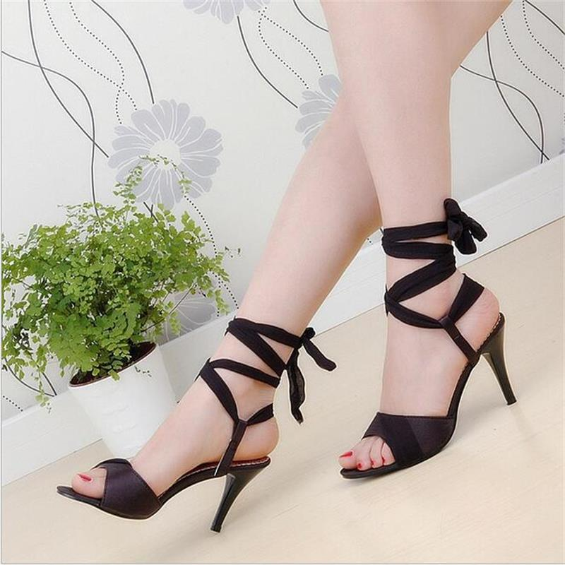 2017 Summer New Fashion Shoes Women Ankle Cross-tied Open-toed High-heeled Roman Sandals Large Size Sandalias Mujer<br><br>Aliexpress