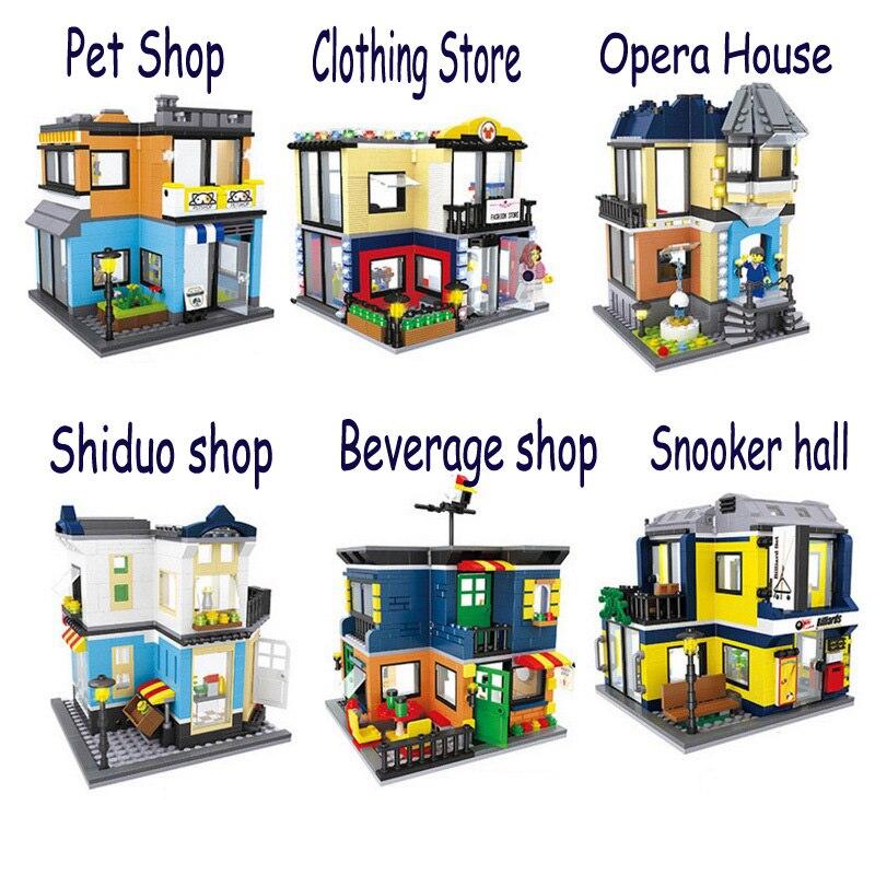 HSANHE Big City Street Store Architecture Pet Shop Opera Figure Blocks Construction Building Bricks Toys For Children Compatible<br>