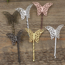 Vintage Fashion Copper Butterfly Setting 6 Colors Plated Hollow Out Hairpins DIY Jewelry Accessories For Women 20 PCS(China)