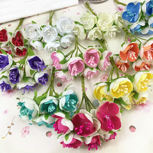 6pcs Stamen artificial flowers simulation small silk cloth roses tea bags DIY Wreath handmade wedding ball Gift box decoration(China)