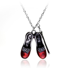 2017 New Jewelry Accessories Alice in Wonderland Magic Bars Red Shoes Pendant Necklace From Fashion Shoes Necklace -30(China)