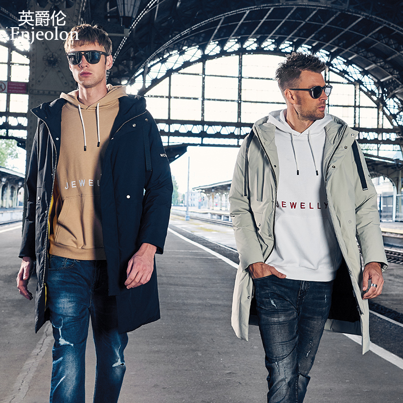 Enjeolon brand winter thick hoodies long down jacket men pocket long parka coat male warm printing parka coat down coat YR0136