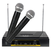 Newest Style High Standard Professional 220V Pro 2x Channels VHF Handheld KTV Wireless Microphone + Mic Receiver System